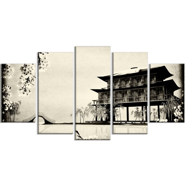 Designart Chinese Ink Painting 5 Piece Wall Art On Wrapped Canvas Set Wayfair