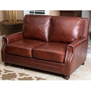 Havana Leather Loveseat by Breakwater Bay