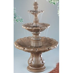 Tiered Concrete Classical Finial Waterfall Fountain