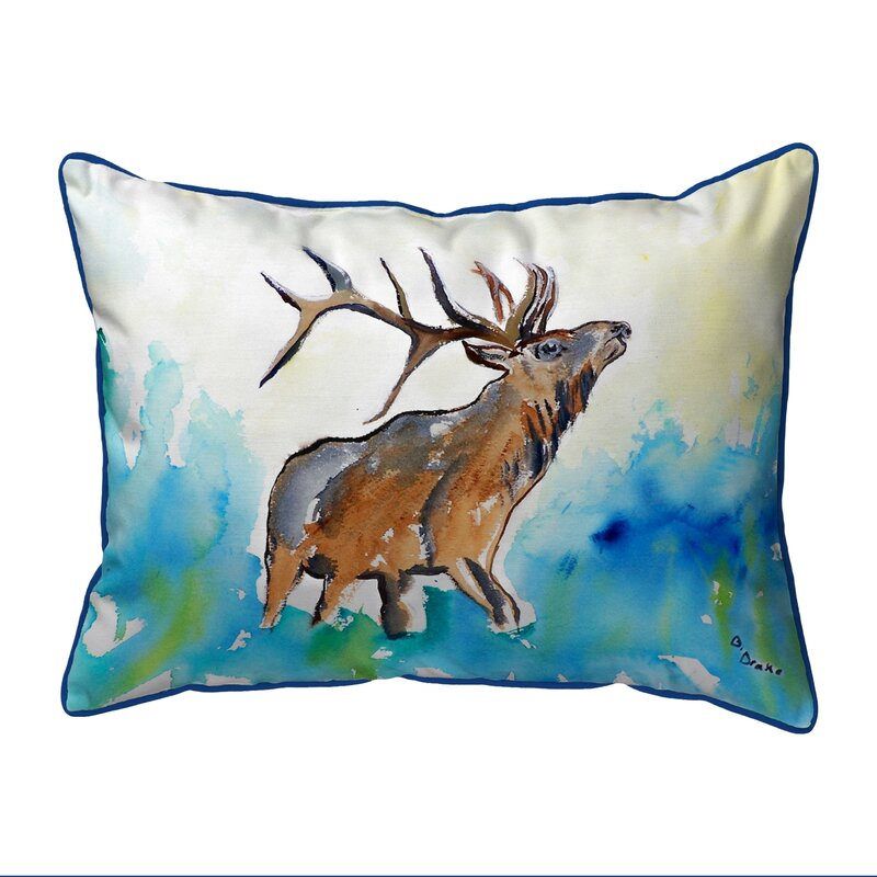 Betsy Drake Interiors Lodge Elk Indoor Outdoor Lumbar Pillow Reviews Wayfair