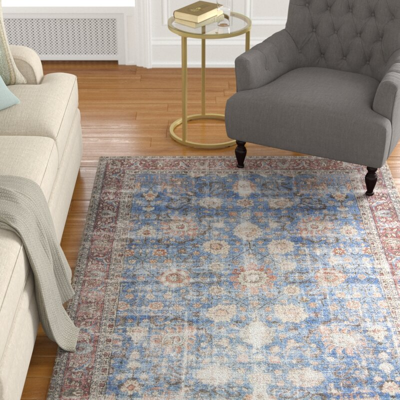 Alcott Hill Adele Blue/Brick Area Rug, Size: Runner 26 x 76