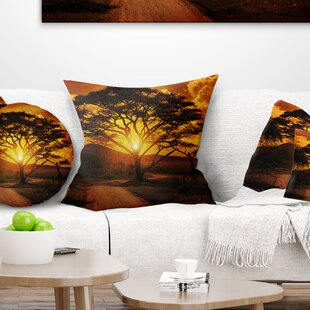 African Landscape Printed Sunset With Lonely Tree Throw Pillow
