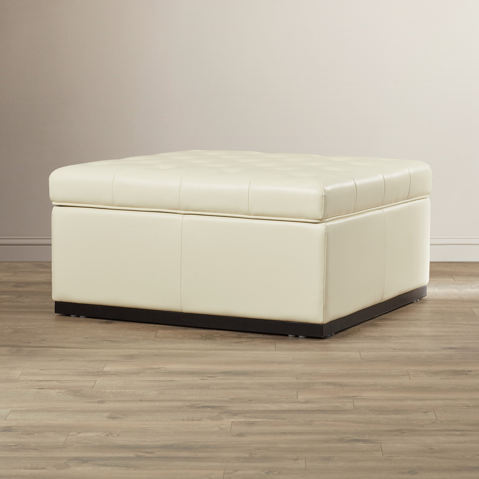 product round side homepop leather taupe faux storage ottoman