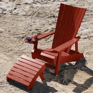 Deutsch Plastic Adirondack Chair with Ottoman by Breakwater Bay