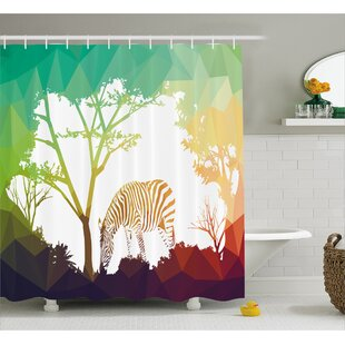 Wildlife Digital Zebra Figure in Fractal Display Vivid Colors A Look at Kenya Illustration Shower Curtain Set