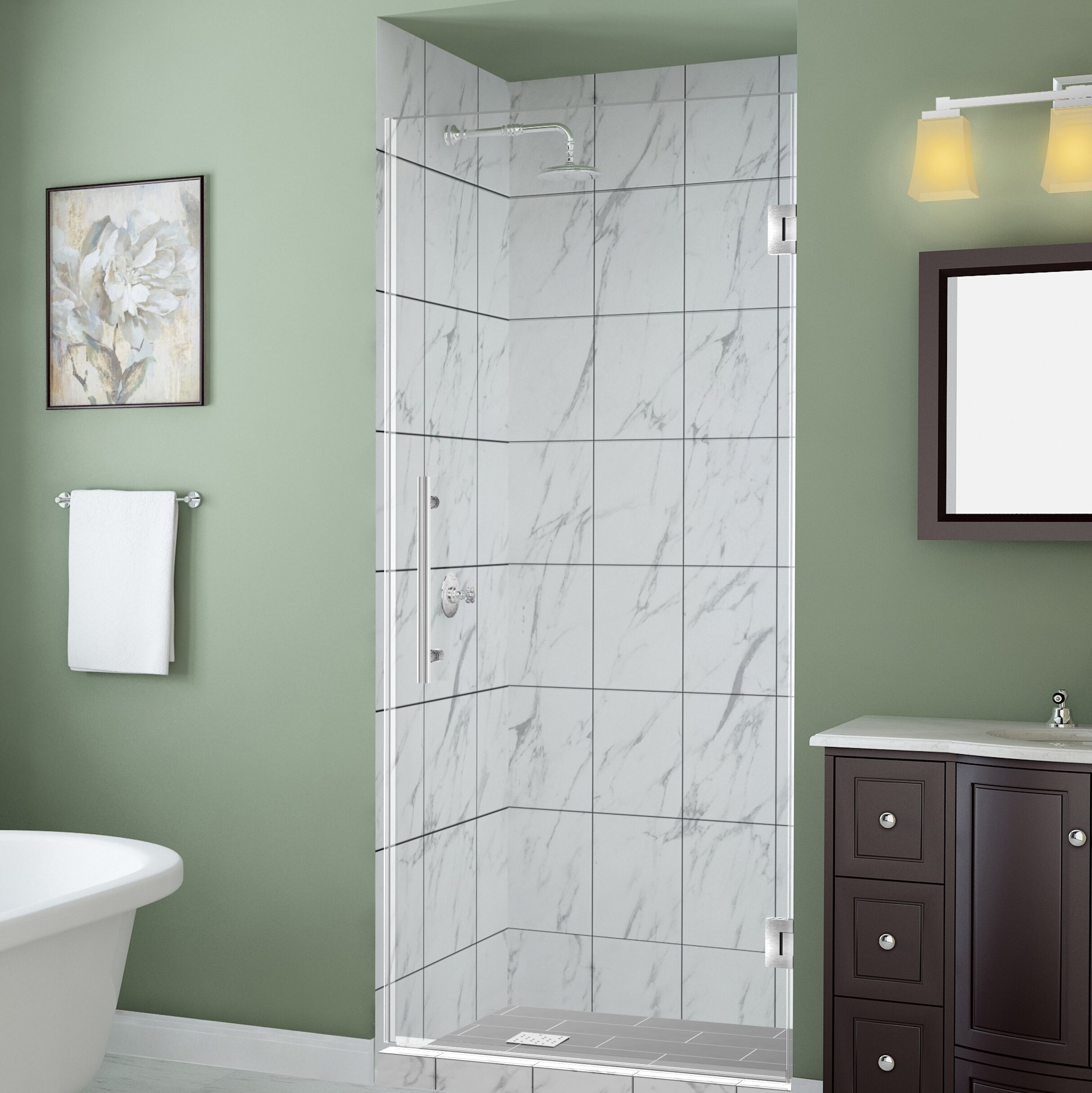 Belmore Gs 64 X 72 Hinged Frameless Frosted Shower Door