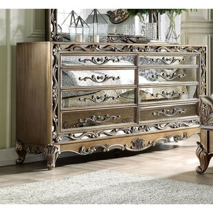 Summerdale Floral Inlaid Wooden 8 Drawer Double Dresser