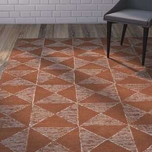 Great Price Moshier Hand-Tufted Paprika/Linen Area Rug ByMercury Row