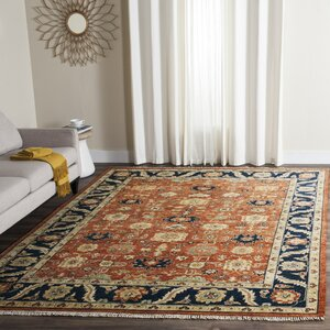 Larkson Hand-Knotted Rust Area Rug