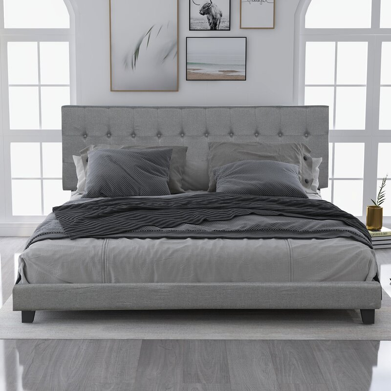 Latitude Run Atanase Tufted Solid Wood And Upholstered Low Profile Standard Bed Wayfair