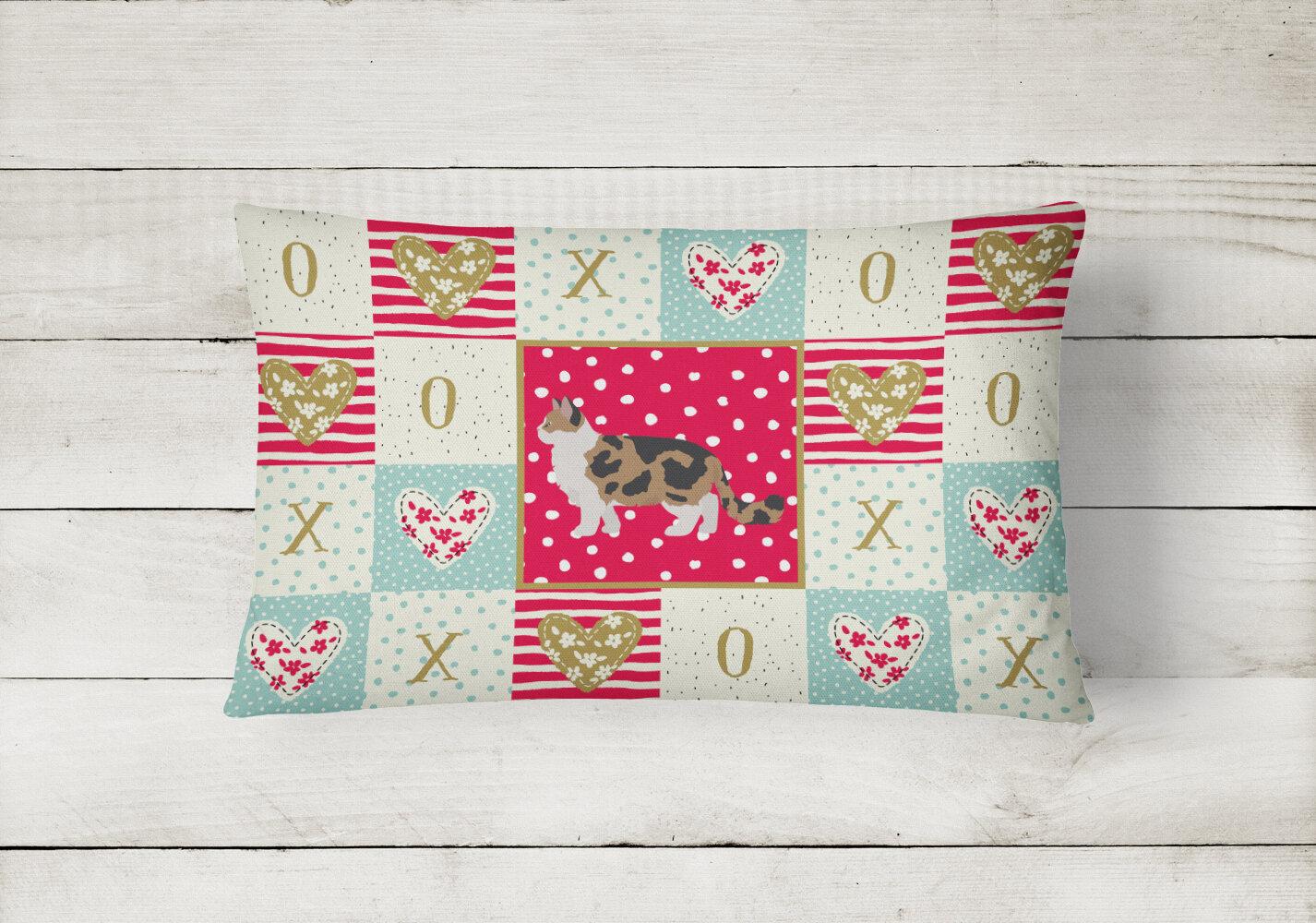 The Holiday Aisle Farzana Ragamuffin 2 Cat Love Indoor Outdoor Patchwork Lumbar Pillow Wayfair