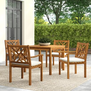 Greyleigh Chillicothe 5 Piece Teak Dining Set with Cushions