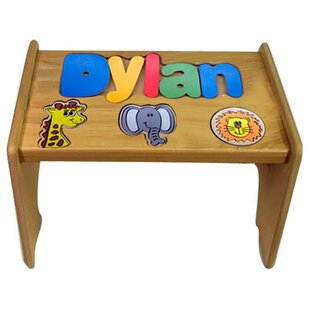 Titus Child Jungle Themed Wooden Puzzle Personalized Step Stool by Zoomie Kids