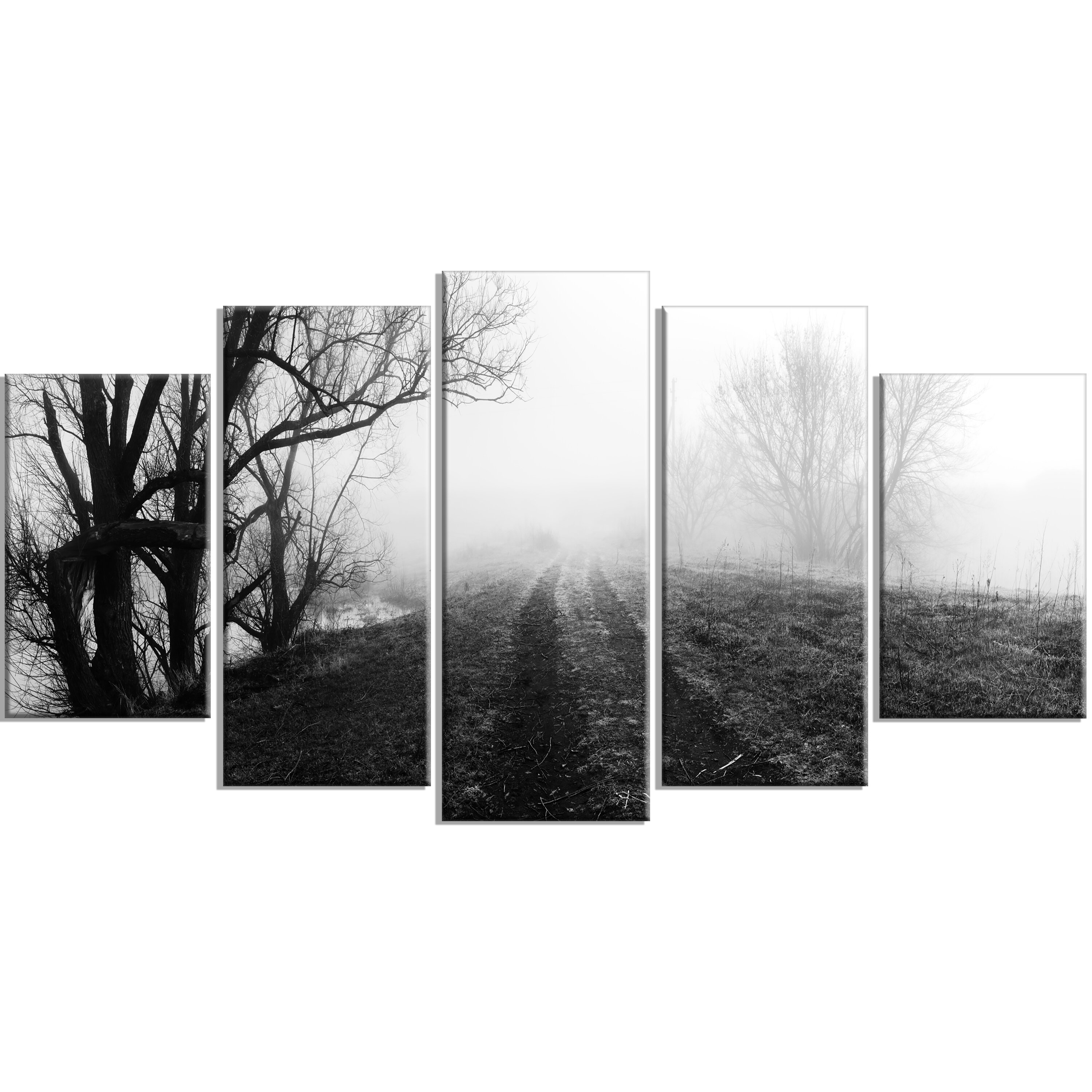 Designart Black And White Misty Landscape Panorama 5 Piece Photographic Print On Wrapped Canvas Set Wayfair