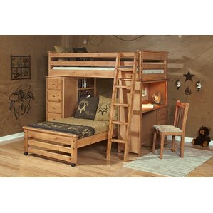 Coffey Twin Over Twin L-Shaped Bunk Beds with Chest and Desk Ends by Harriet Bee
