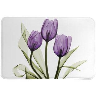Laveder Tulips Memory Foam Bath Rug
