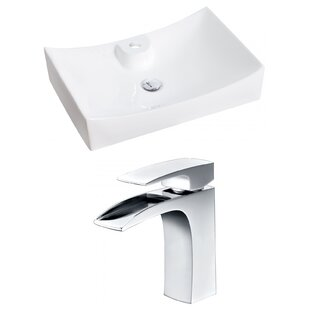 Online Reviews Above Counter Ceramic Rectangular Vessel Bathroom Sink with Faucet By Royal Purple Bath Kitchen