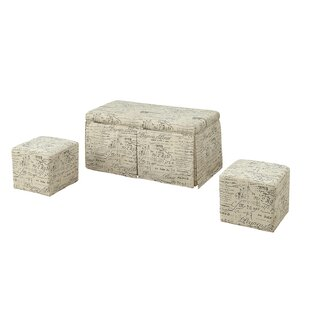 Kettner 3 Piece Storage Bench and Ottoman Set (Set of 3)