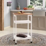 Allie Microwave Kitchen Cart with Butcher Block Top by August Grove®