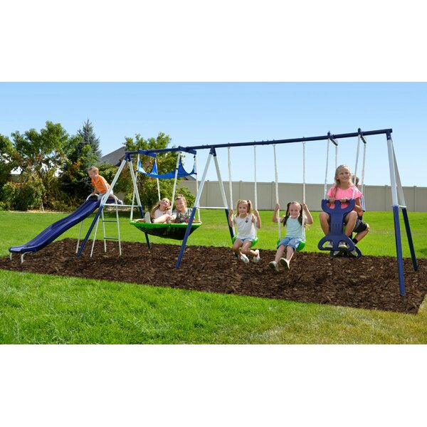 Kids Safe /& Easy Mounting to Playhouse Outdoor Swing Swingset Accessories Backyard  Ultra Strong Playset Trees or Existing Playground Green Toddler 40 INCH Round Playground Swing
