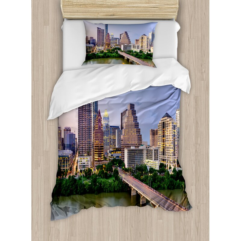 Ambesonne Modern Austin Texas American City Bridge Over The Lake Skyscrapers Usa Downtown Picture Duvet Cover Set Wayfair