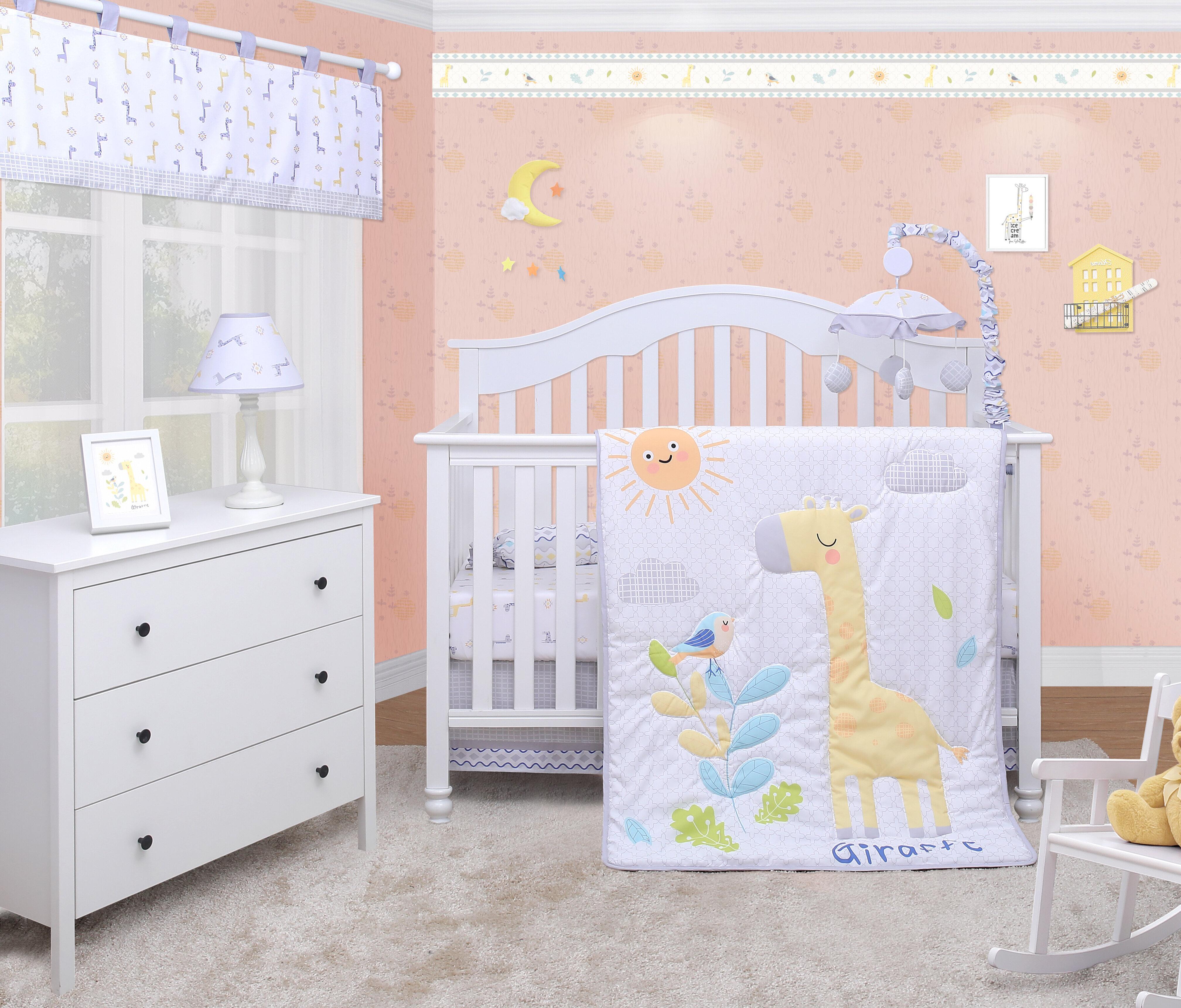 Zoomie Kids Lincoln Giraffe Animals Baby Nursery 6 Piece Crib Bedding Set Wayfair