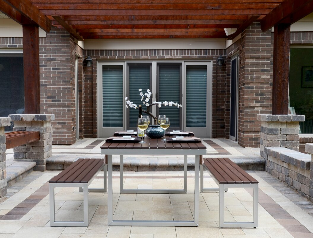 Perfect Kinzie Outdoor Modern 3 Piece Dining Set