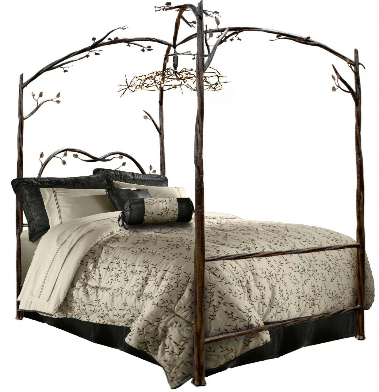 - Stone County Ironworks Enchanted Queen Canopy Bed Perigold