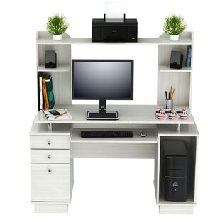 Inessa Engineered Wood Computer Desk with Hutch