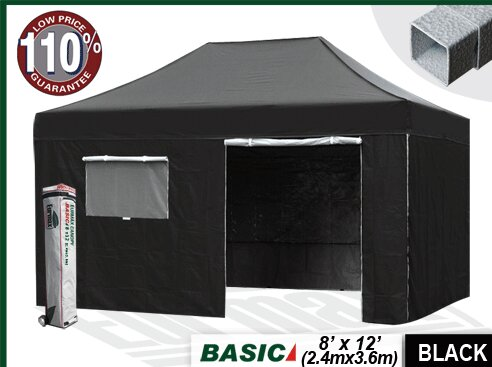 Commercial 8 Ft W X 12 D Steel Pop Up Canopy