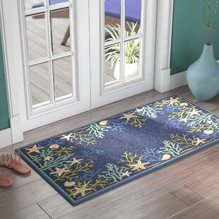 Rundall Sea Water Hand-Hooked Blue Indoor/Outdoor Area Rug