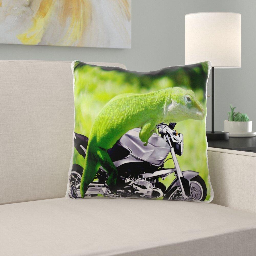 East Urban Home Quickep Gecko Rider Pillow Cover Wayfair