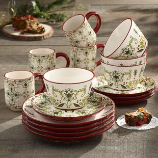 Holmes 16 Piece Dinnerware Set Service for 4 & Farmhouse Dish Set   Wayfair