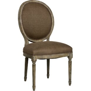 Medallion Side Chair in Linen - Aubergine