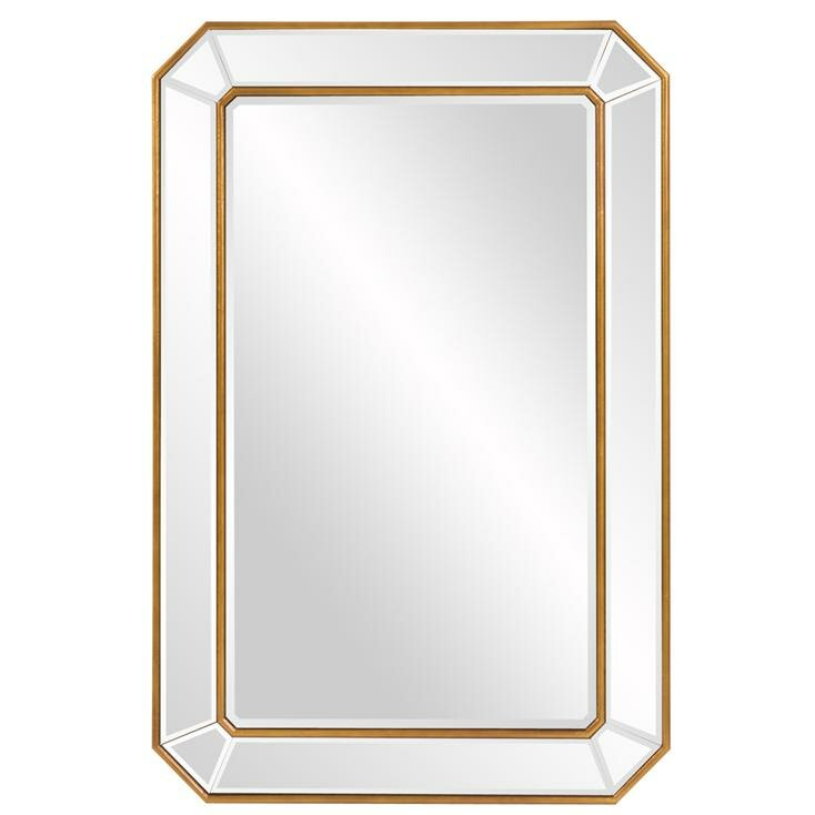 Briley Rectangle Gold Angled Accent Wall Mirror