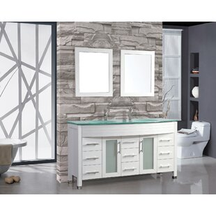 Review Prall Modern 63 Double Sink Bathroom Vanity Set with Mirrors by Orren Ellis