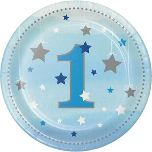 One Little Star Boy 1st Birthday Appetizer Plate (Set of 24)