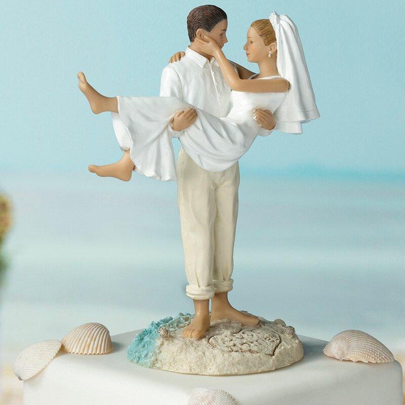 Wedding cake toppers youll love wayfair caucasian beach wedding cake topper junglespirit Gallery