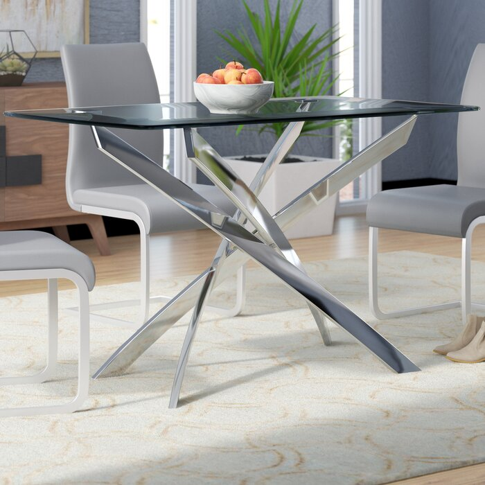Astonishing Coraline Glass Top Modern Dining Table Squirreltailoven Fun Painted Chair Ideas Images Squirreltailovenorg