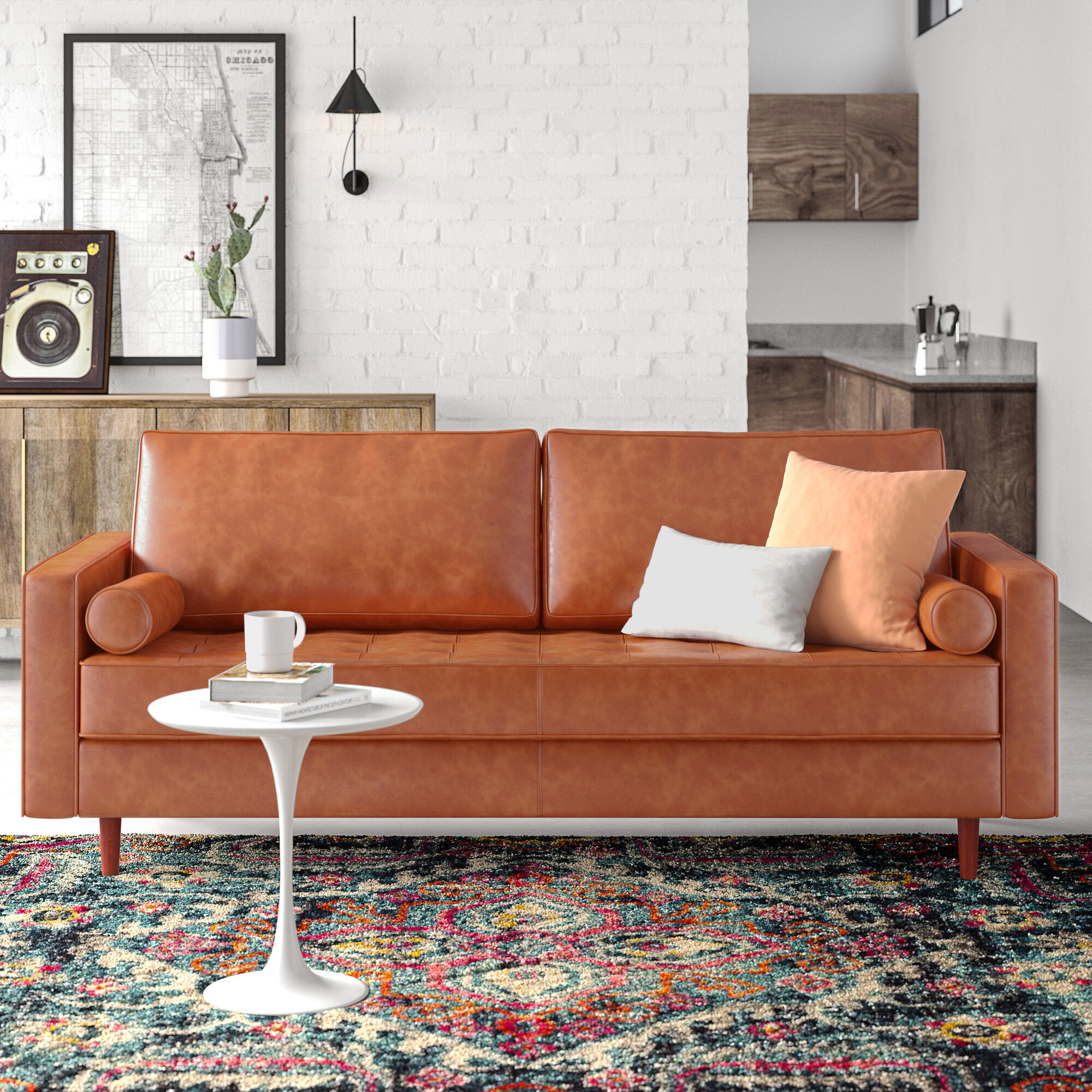 Allmodern Hailee 84 Wide Genuine Leather Square Arm Sofa Reviews Wayfair