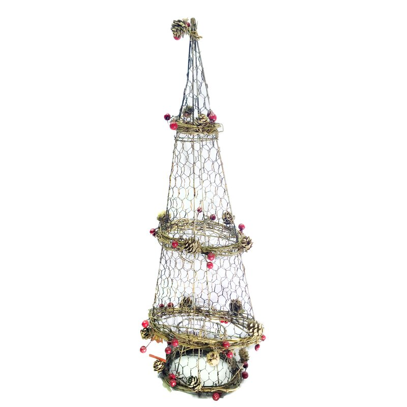 rattan light up christmas tree shaped ornament