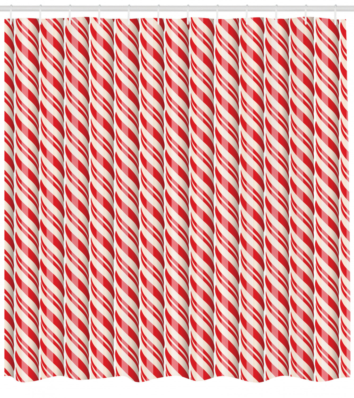 Candy Cane Shower Curtain Set Hooks