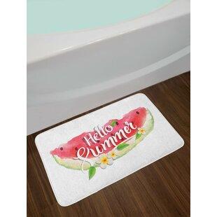 Hello Pink Mint Green Watercolor Bath Rug
