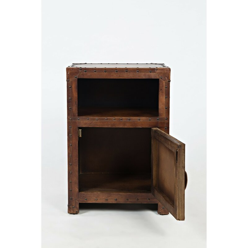 Hera Leather One Door And Open Shelf End Table With Storage