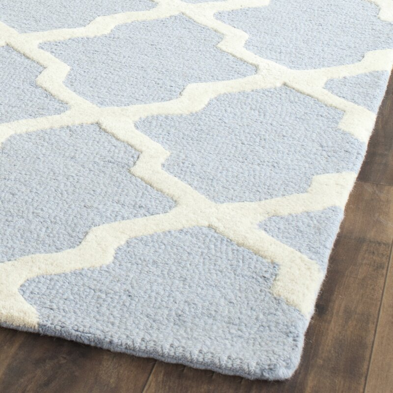 Cambridge Hand Tufted Hooked Light Blue Ivory Area Rug