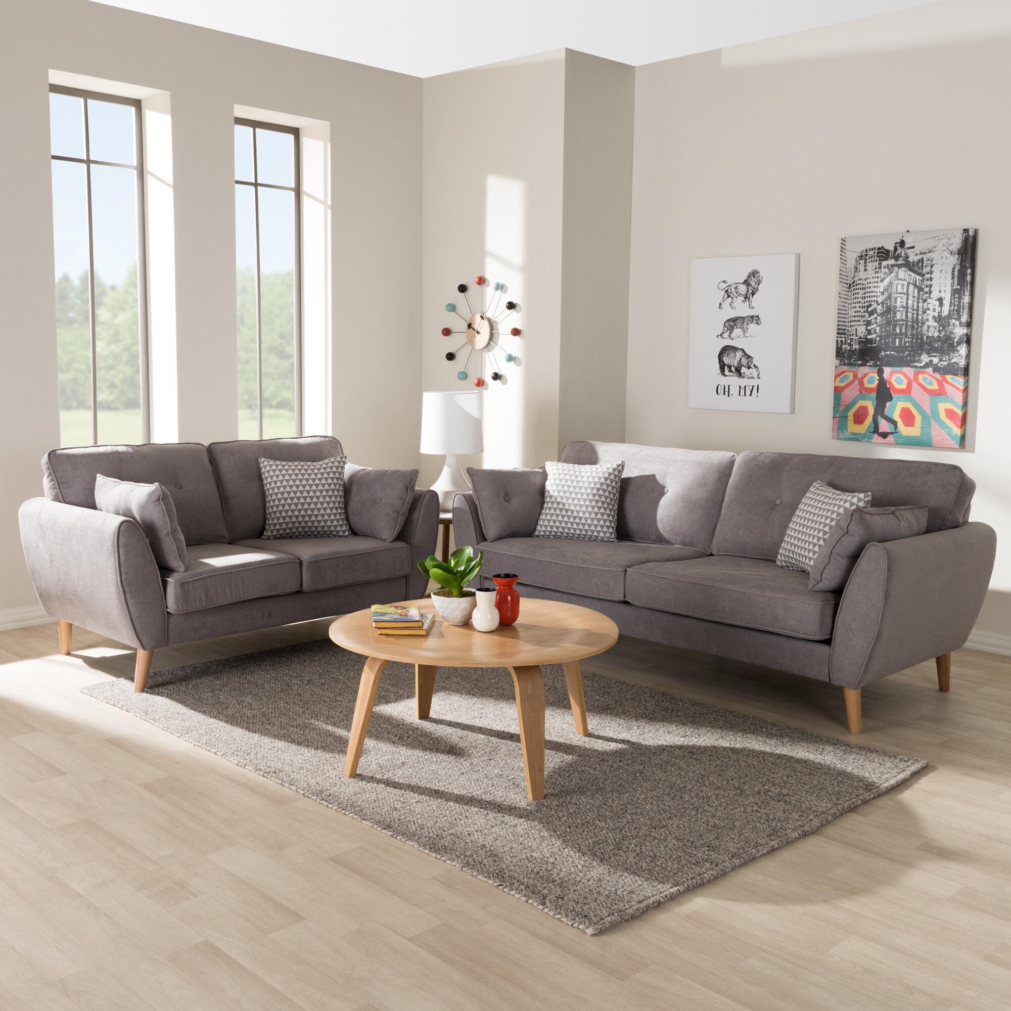 Doucette Mid Century Modern 2 Piece Button Tufted Living Room Set