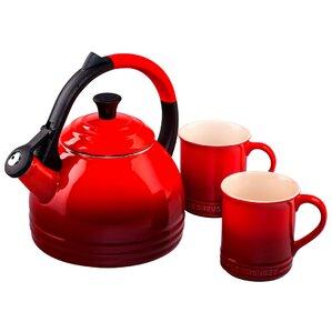 Le Creuset  Enamel On Steel 3 Piece 1.7 qt Peruh Tea Kettle & Mug Set