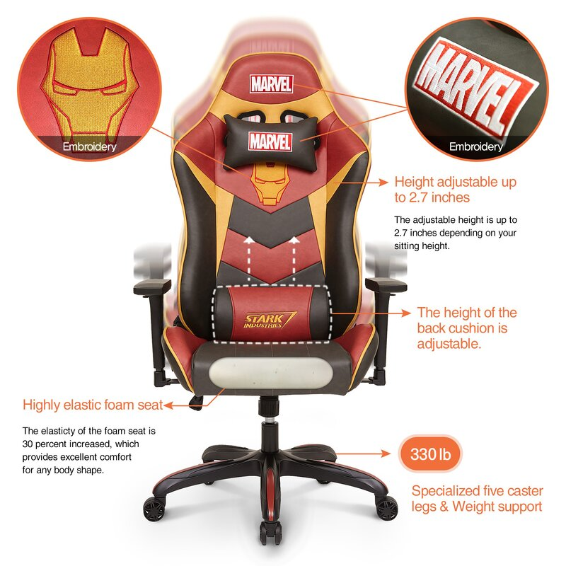 Marvel Captain America Iron Man Super Premium PC & Racing Game Chair