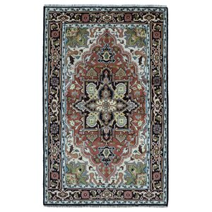 Etten Oriental Hand-Woven Wool Brown Area Rug