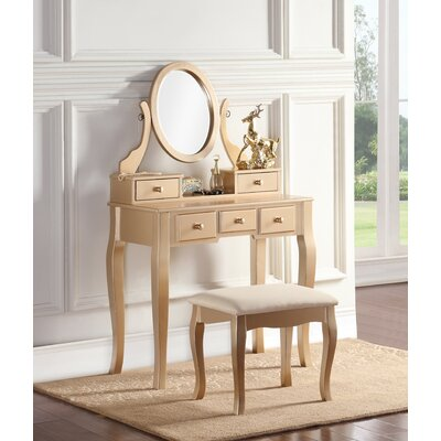 Zeke Wood Makeup Vanity Set with Mirror Color: Gold by Beachcrest Home